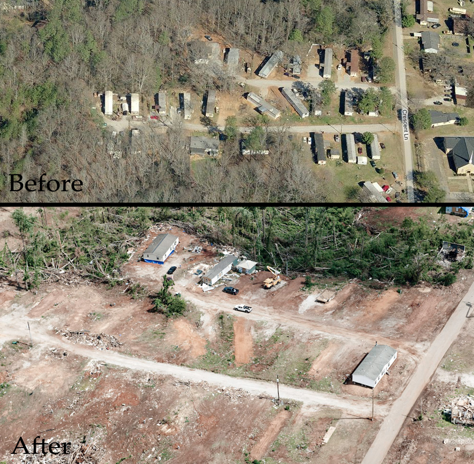 Before and after picture of Ricky's trailer park.