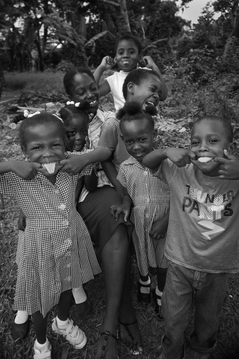 Kids in Jamaica making faces